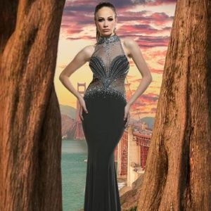 XTREME BEJEWELED SHEER HIGH NECKLINE EVENING GOWN